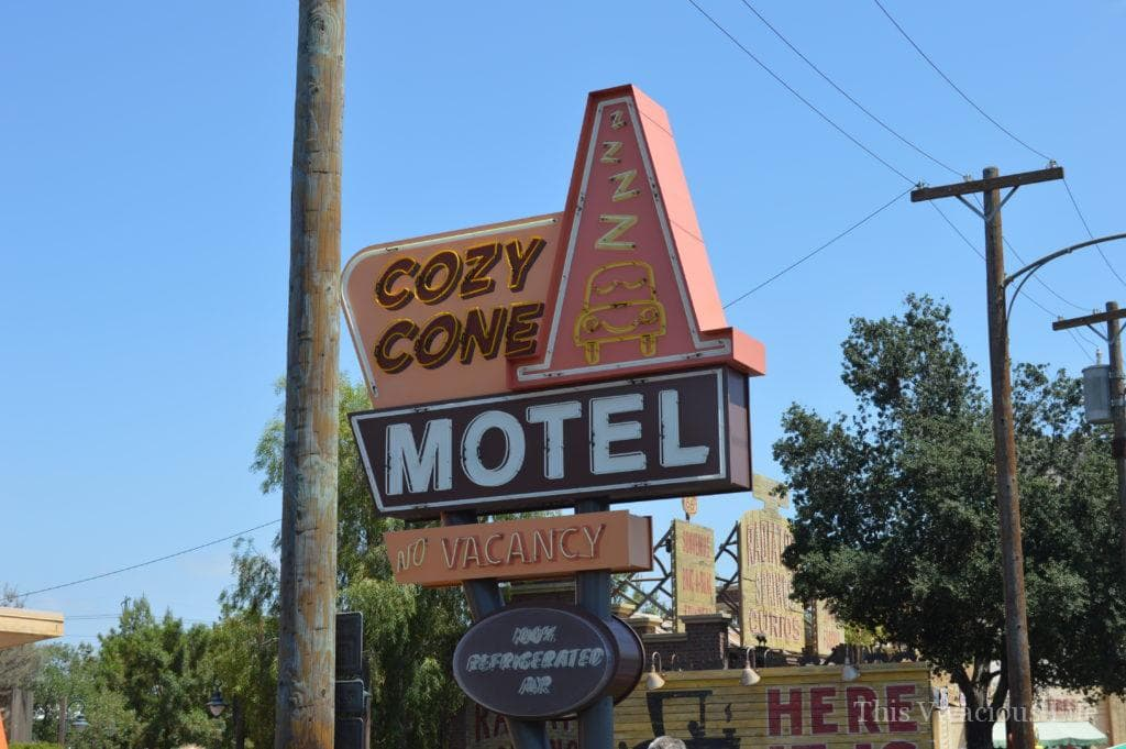 Cozy Cone motel sign in California Adventure