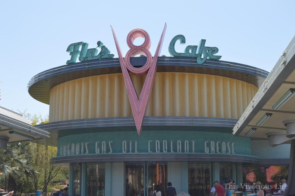 Flo's V8 Cafe sign and building in California Adventure