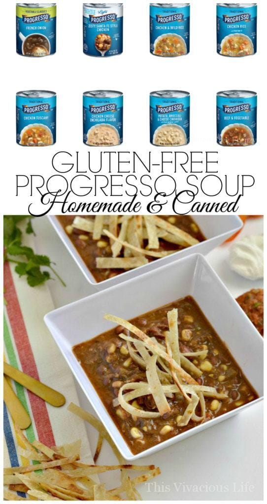 Gluten-free Progresso soup homemade and canned for all those who need to eat gluten-free. | gluten free soup recipes | homemade gluten free soups | soup recipes gluten free | gluten free progresso soup recipes || This Vivacious Life