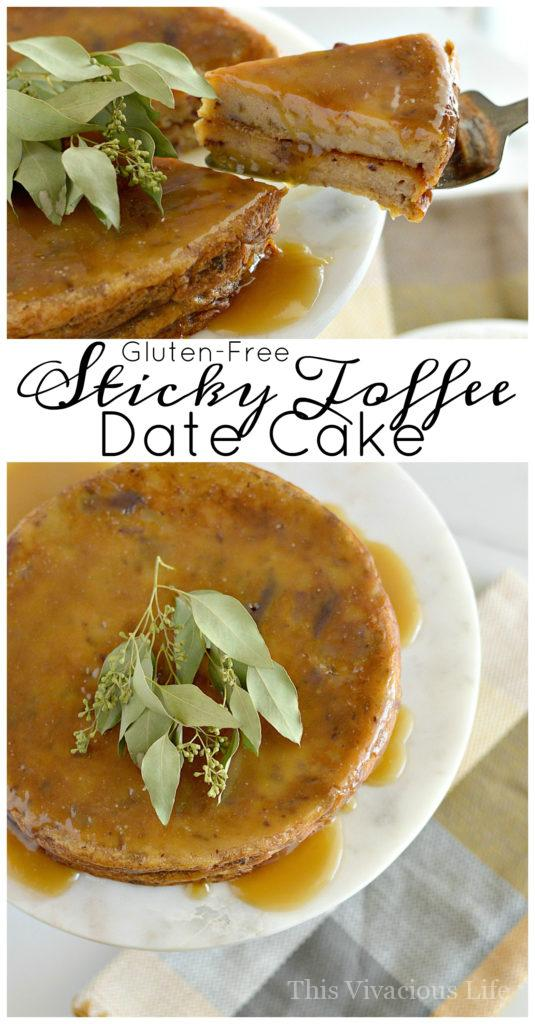 Gluten-Free Sticky Toffee Date Cake for any Occasion | gluten-free cake recipes | gluten-free desserts | gluten-free sweets | recipes using dates | easy cake recipes | easy gluten-free desserts || This Vivacious Life #glutenfree #glutenfreecake #glutenfreedessert