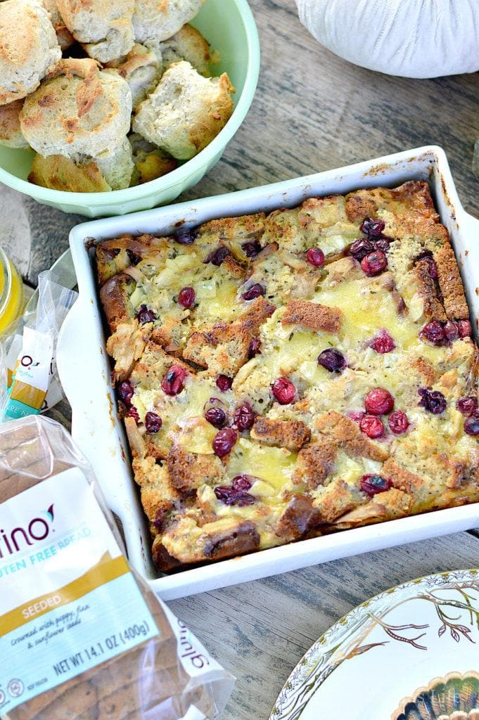 Turkey, Cranberry and Brie Bread Pudding {Thanksgiving Leftovers} | leftover turkey recipes | turkey casserole recipes | thanksgiving recipe ideas | how to use thanksgiving leftovers | thanksgiving leftover recipes | Gluten-free thanksgiving recipes | Gluten-free recipe ideas | Gluten-free recipes || This Vivacious Life #Glutenfree #Thanksgivingleftovers