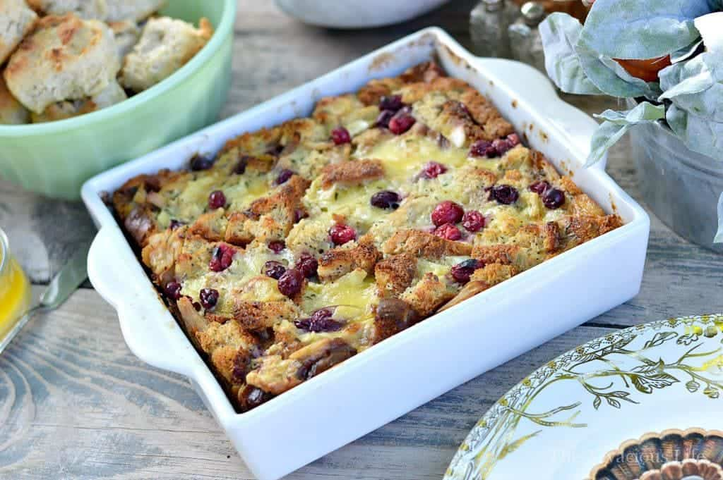 turkey, cranberry & brie bread pudding