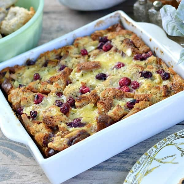 Turkey, Cranberry and Brie Bread Pudding {Thanksgiving Leftovers}