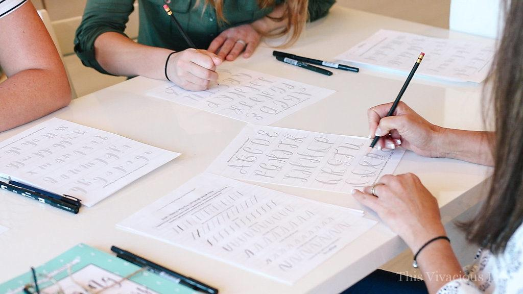 The art of hand lettering vivacious workshop to learn a new skill. Let us show you how to host one yourself...   how to host a calligraphy party   how to host a workshop   hand lettering workshop ideas    This Vivacious Life #handlettering #calligraphyworkshop