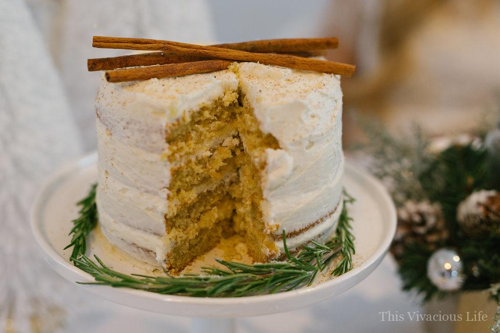 White Christmas Dinner Party with Gluten-Free Eggnog Cake | Christmas party ideas | Christmas party decor | gluten-free holiday cakes | gluten-free holiday desserts | how to host a Christmas party | gluten-free cake recipes || This Vivacious Life #glutenfreechristmas #glutenfreecake #christmasparty