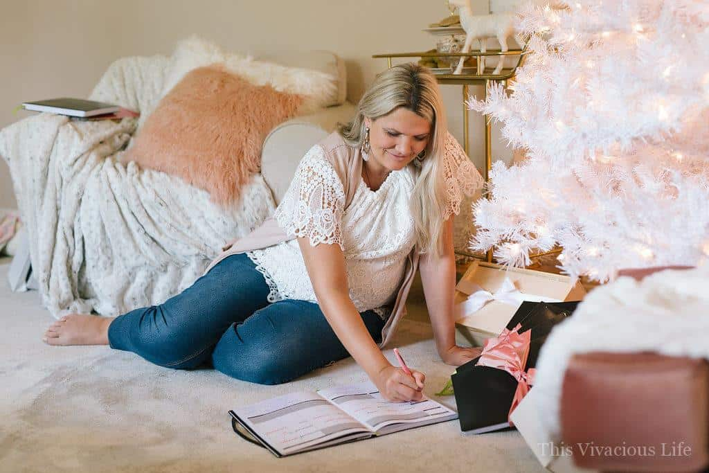 Plan and Wrap Holiday Party with Passion Planner | holiday gift wrapping party | planning your holiday gifts | gift giving organization tips | how to host a plan and wrap gift party | holiday party ideas | holiday organization tips || This Vivacious Life #wrapparty #giftorganization #holidayorganizing