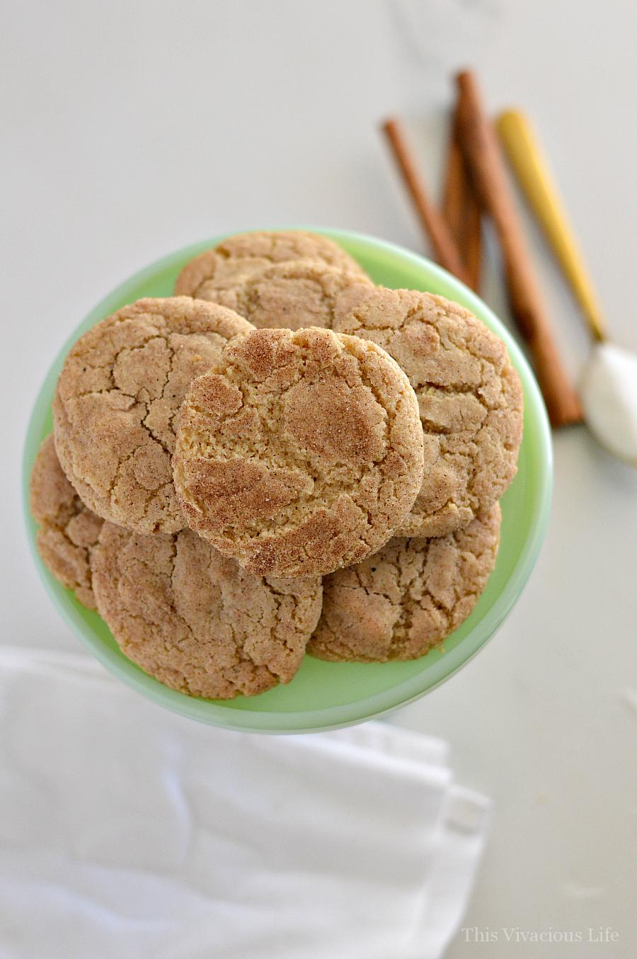 Overhead shot of snickerdoodles on a jadeite plate