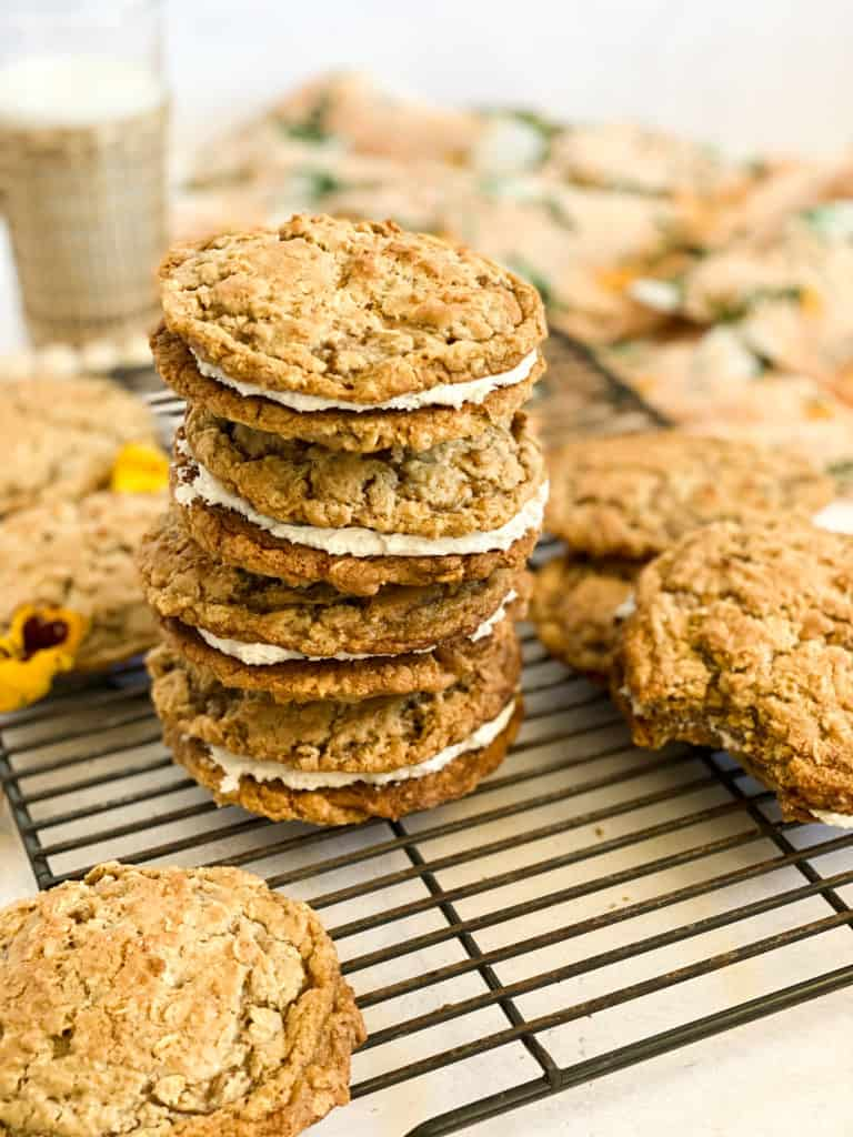 Gluten-Free Oatmeal Cream Pies stacked on each other