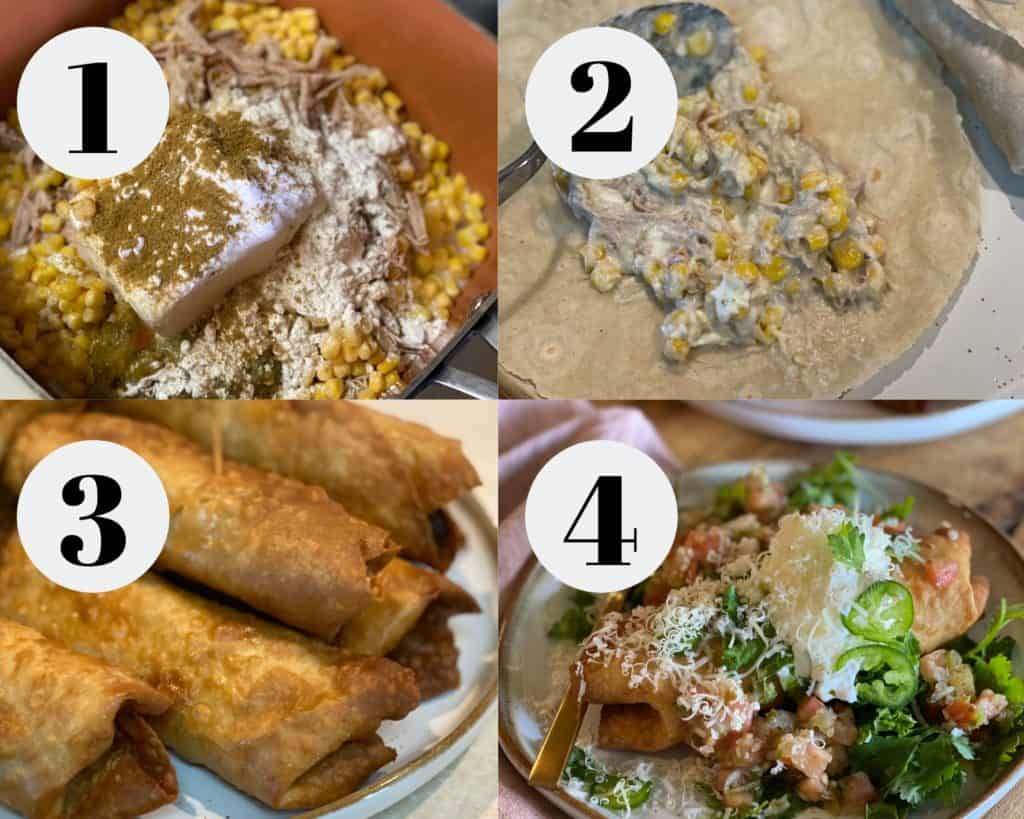 Step by step rolled tacos
