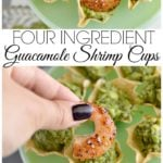 These four ingredient gluten free guacamole cups with shrimp are the perfect appetizer. They take only a few minutes to prepare and will definitely be a hit your next party. || This Vivacious Life #appetizer #glutenfree #shrimp #partyrecipes #thisvivaciouslife
