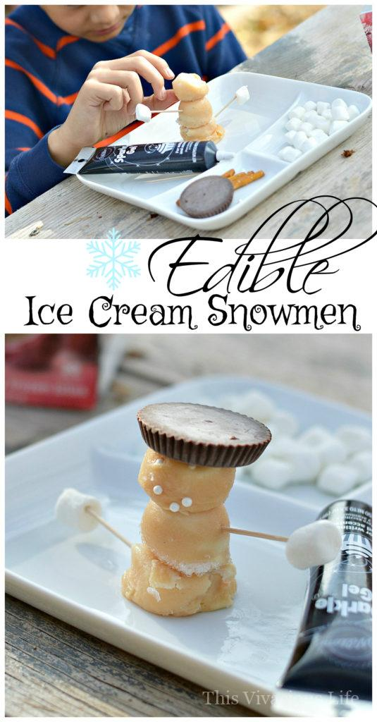 Kids and grown ups alike will love to put together these edible ice cream snowmen and gobble them up after. | fun winter activities for kids | easy edible crafts for kids | snowmen activities for kids | winter themed craft ideas || This Vivacious Life #ediblesnowmen #wintercraft #ediblecrafts
