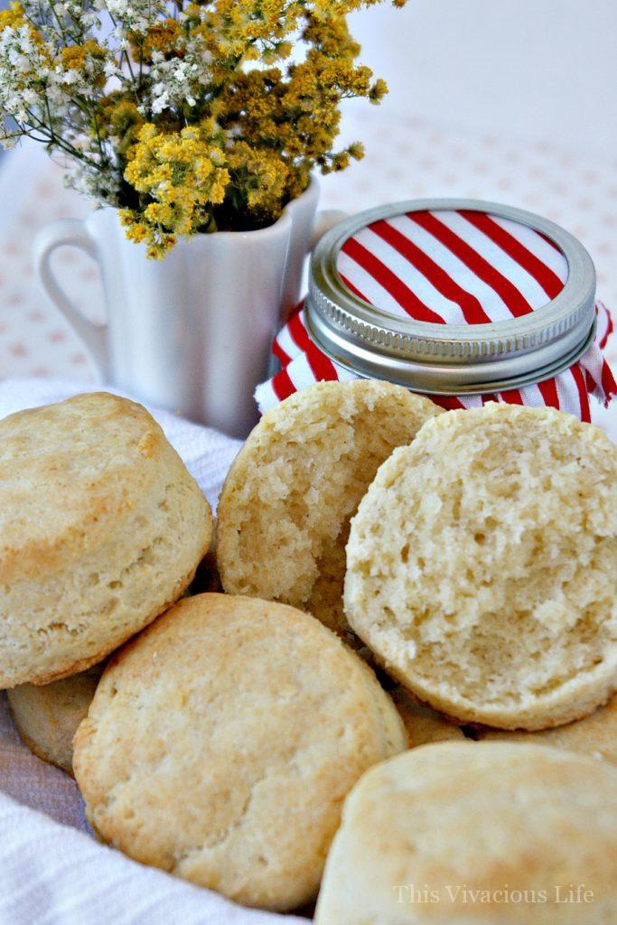 These gluten-free buttermilk biscuits are like little pockets of buttery, flaky Heaven. Nobody will ever know they are gluten-free! || This Vivacious Life #glutenfree #biscuits #biscuitrecipe #glutenfreebiscuits #glutenfreebread #buttermilkbiscuits