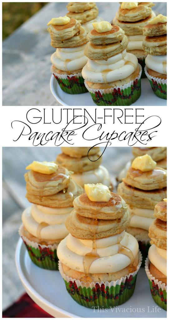 These gluten-free pancake cupcakes are sure to be a hit at your next flannel and flapjacks or lumberjack party. | maple pancake cupcakes | cupcake recipe ideas | gluten free cupcakes | gluten free desserts | maple flavored cupcakes | homemade cupcakes | holiday dessert recipes || This Vivacious Life #maplecupcakes #cupcakerecipes #homemadecupcakes #glutenfreecupcakes
