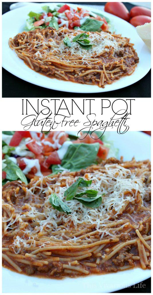 This instant pot gluten-free spaghetti recipe can be made in 10 minutes and will be a dinner the whole family will love! | instant pot recipes | gluten-free instant pot recipes | easy gluten-free meals | gluten-free spaghetti | gluten-free dinner recipes | homemade gluten-free meals | how to make gluten-free spaghetti | gluten-free main dishes | gluten-free instant pot recipes | pressure cooker spaghetti || This Vivacious Life #instantpot #glutenfreespaghetti #glutenfreedinner #easydinner
