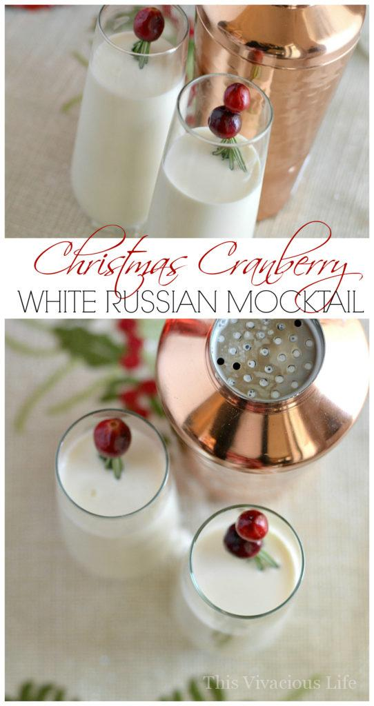 This Christmas cranberry white Russian mocktail is a family favorite that is easy to make and so delicious! | holiday mocktail recipes | non-alcoholic White Russian | non-alcoholic cocktails | christmas drink recipes | holiday drink recipes || This Vivacious Life #holidaydrink #whiterussian #mocktails