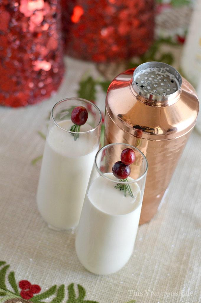 White long glasses with White Russian mortal and cranberries