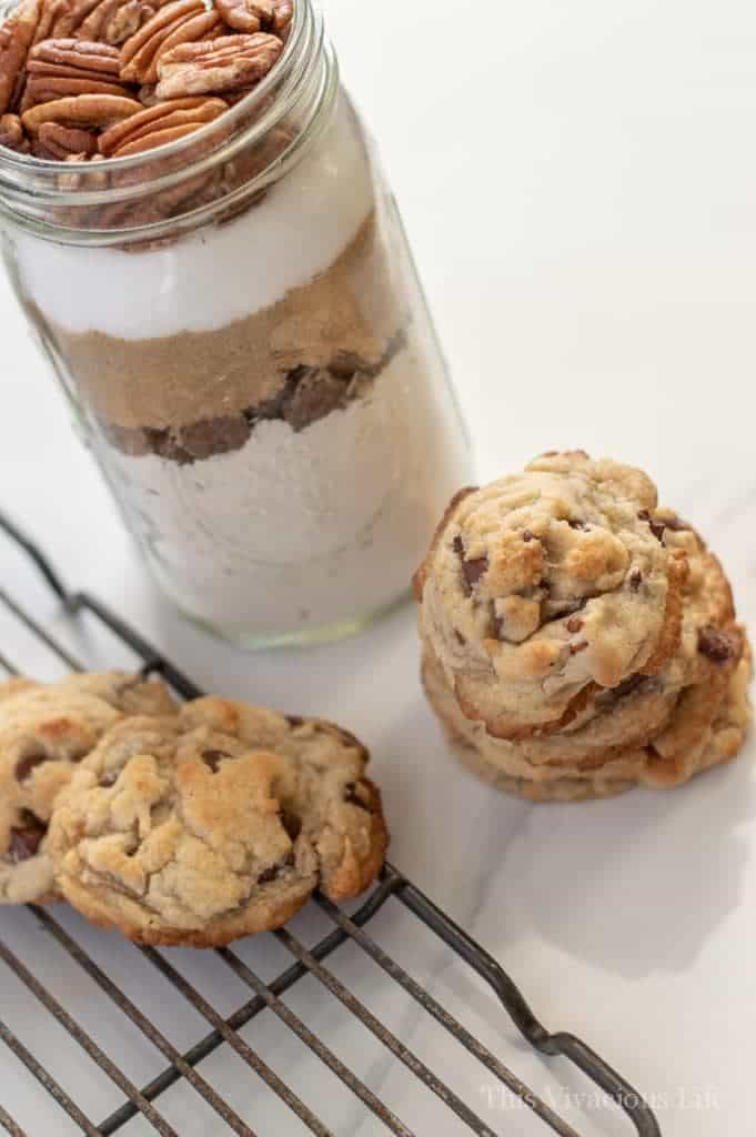 Gluten-free chocolate chip cookies and jar of ingredients