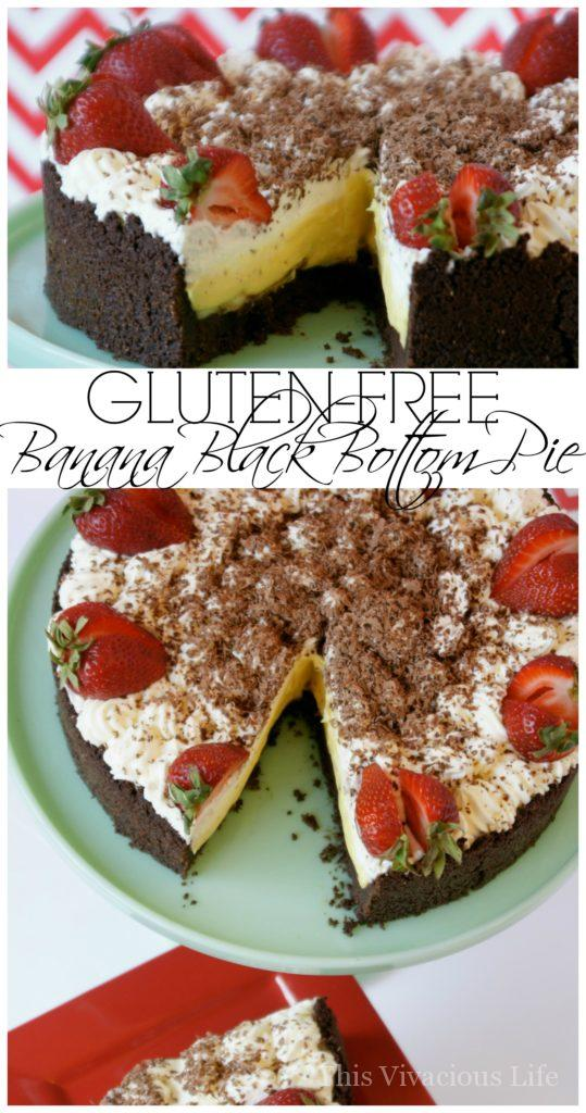This gluten-free banana black bottom pie is rich, decadent and oh so delicious! This is one special treat that everyone will love. | gluten-free pie recipes | gluten-free dessert recipes | gluten-free sweets | pie recipes gluten-free | easy gluten-free recipes || This Vivacious Life #glutenfree #pie #glutenfreepie #glutenfreedessert