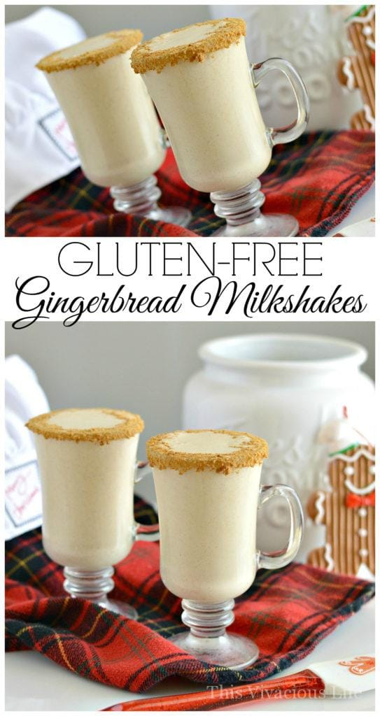 Gluten-Free Gingerbread Milkshakes | holiday recipe ideas | holiday milkshake recipes | gluten-free milkshake recipes | gluten-free gingerbread recipes | gluten-free drink recipes || This Vivacious Life #glutenfreemilkshake #glutenfreeholiday #glutenfreegingerbread