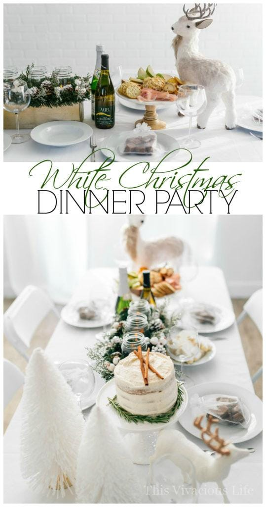 You guys are going to love this white Christmas dinner party and gluten-free eggnog cake! From the menu to the decor we kept it simple and sleek. | White Christmas Dinner Party with Gluten-Free Eggnog Cake | Christmas party ideas | Christmas party decor | gluten-free holiday cakes | gluten-free holiday desserts | how to host a Christmas party | gluten-free cake recipes || This Vivacious Life #glutenfreechristmas #glutenfreecake #christmasparty