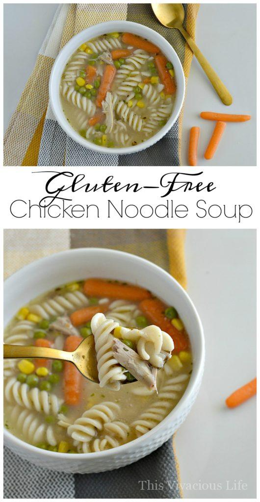 This gluten-free chicken noodle soup is the best recipe around. It is homemade and oh so delicious! | gluten-free soup recipes | easy gluten-free soup recipes | homemade soup recipes | healthy chicken noodle soup | easy chicken noodle soup || This Vivacious Life #glutenfreesoup #chickennoodlesoup #souprecipes