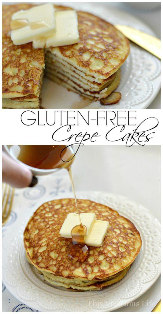 These gluten-free vanilla bean crepe cakes are the perfect mixture of pancakes and crepes. | gluten-free pancakes recipe | gluten-free breakfast recipes | easy crepe cakes || This Vivacious Life #crepecakes #glutenfreebreakfast #easybreakfast
