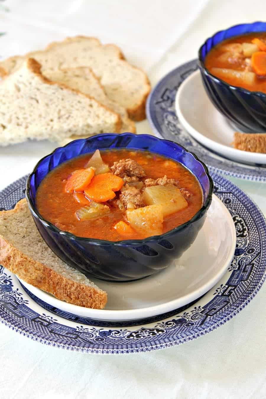 This instant pot hamburger soup is a fantastic go to dinner that can be made in under 30 minutes.