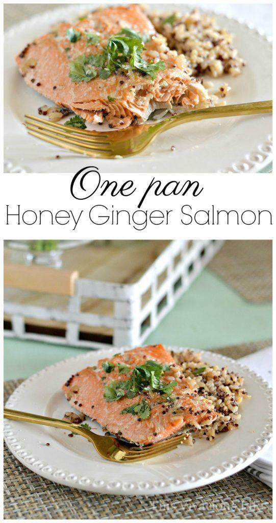 One Pan Honey Ginger Salmon with Brown Rice and Cilantro | easy dinner recipes | gluten free dinner recipes | one pan dinner recipes | gluten free seafood recipes | healthy dinner recipes || This Vivacious Life #onepandinner #glutenfreedinner #salmonrecipe
