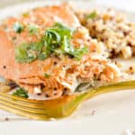 Sockeye salmon on a plate with rice