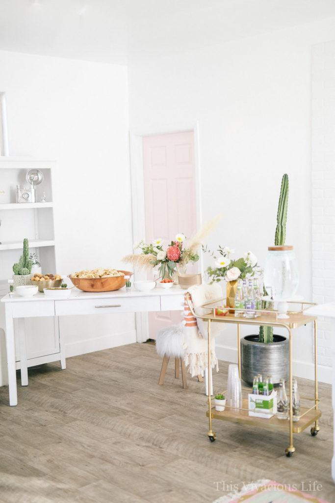Cactus Succulent Baby Shower + Cucumber Lime Mocktail | themed baby shower | baby shower decor | easy baby shower ideas || This Vivacious Life #babyshower #cactusparty