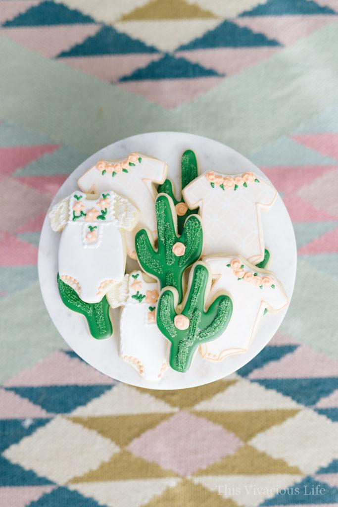 Cactus baby shower sugar cookies