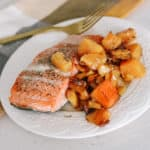 I love this one pan Whole30 butternut squash salmon because it's so flavorful and literally the easiest dinner to make.