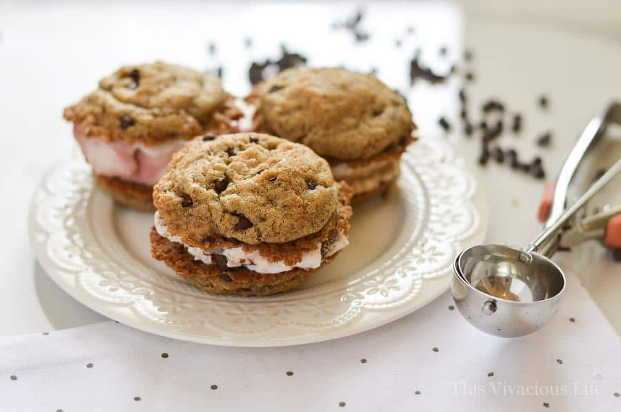 Gluten-free vegan chocolate chip cookie ice cream sandwiches are going to be your new favorite dessert! They are so tasty that nobody you make them for will every know they are free of egg, gluten and dairy. They are the perfect summer dessert! #summertreat #summerdessert #glutenfreedessert