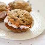 Gluten-free vegan ice cream sandwich chocolate chip cookies are going to be your new favorite dessert! They are so tasty that nobody you make them for will every know they are free of egg, gluten and dairy. They are the perfect summer dessert! #summertreat #summerdessert #glutenfreedessert