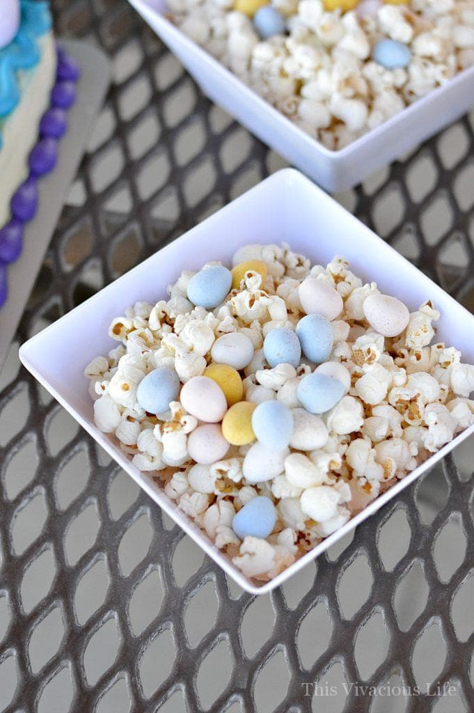 Hatchimals birthday party popcorn with chocolate eggs