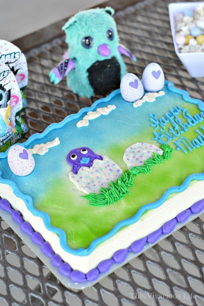 Hatchimals birthday cake on a table