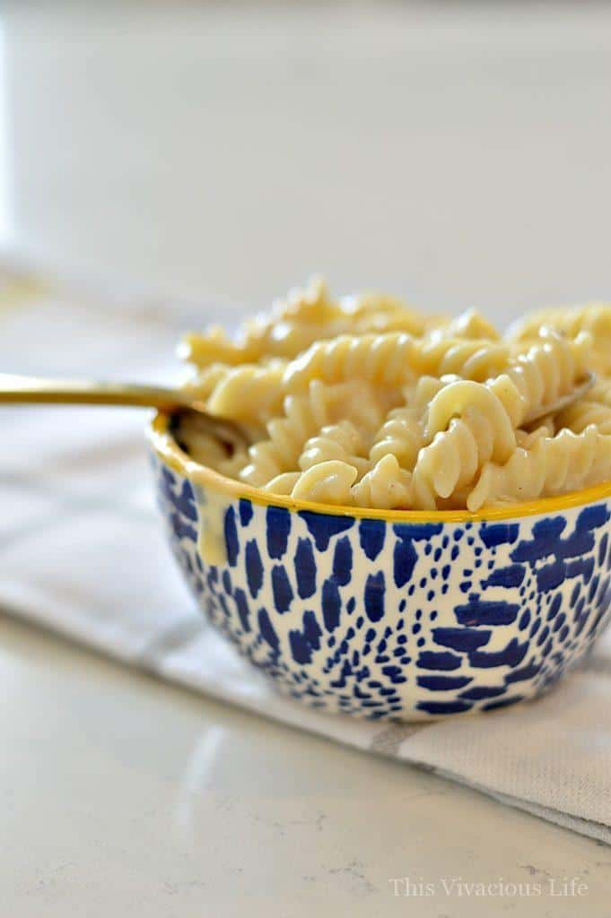 Gluten-Free Mac and cheese in a blue spotted bowl