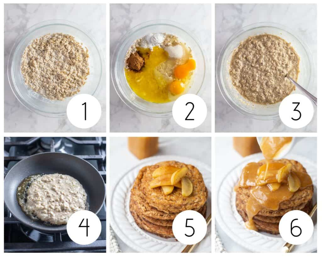 Step by step photos of gluten-free oatmeal pancakes