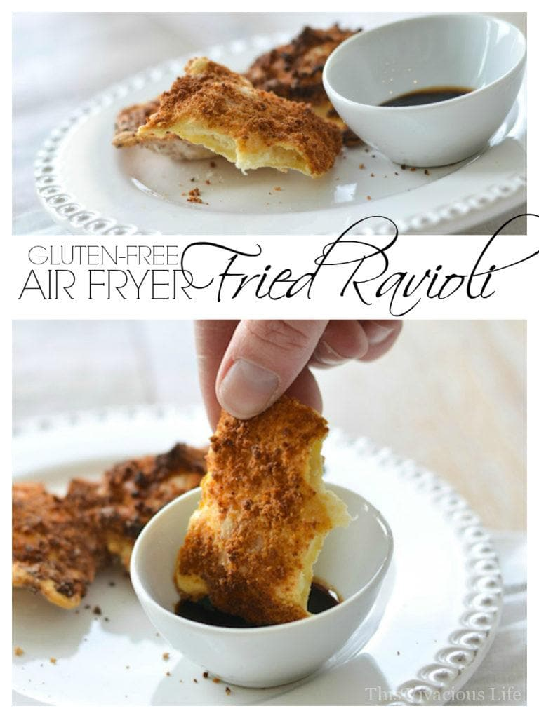 Gluten-free air fryer fried ravioli are so easy, have less fat than the traditional version and take only minutes to make. | air fryer recipes | gluten free appetizers | healthy fried recipes | easy air fryer recipes || This Vivacious Life #recipe #glutenfree #airfryer #ravioli #glutenfreeappetizer #airfryerrecipe