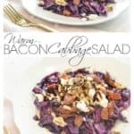 Red cabbage salad with bacon is easy to make in only 15 minutes and is so hearty and delicious!