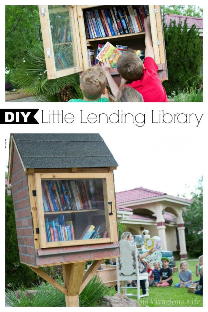 This DIY little library is so cute and totally promotes childhood literacy in neighborhoods. Get measurements and more on how to build your own little lending library. || This Vivacious Life #lendinglibrary #literary #reading #summerfun