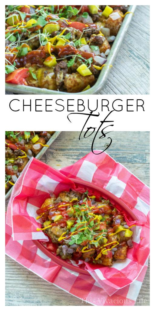 Cheeseburger Tots Better Than Cheeseburger Tater Tot Casserole | tater tot recipes | kid friendly appetizers | summer appetizers | potato recipe ideas || This Vivacious Life #recipe #tatertots #smotheredtatertots #potatorecipes #appetizers #summerrecipes #thisvivaciouslife