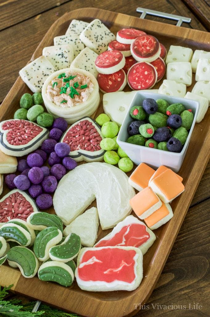 Charcuterie Cheese Board Cookies, olive and pickle cookies too