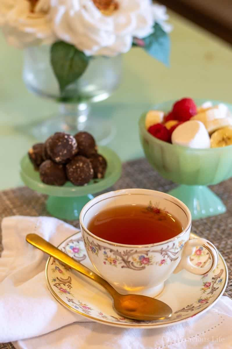 I am excited to show you this easy dairy free afternoon tea because it is delicious and couldn't be more simple to put together.