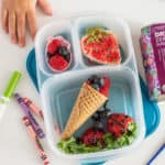 Bento box ideas for kids that will only take a few minutes to put together. The kids will love both the berry and island themed lunchboxes!