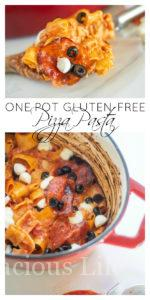 This one pot pizza pasta couldn't be more simple! It is full of all the yummy pizza flavors that kids and adults love and is a quick one pan dinner. Oh and it's also gluten-free!
