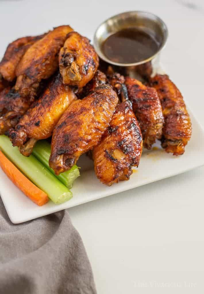 Instant pot chicken wings! They are super sticky thanks to the delicious cola sauce. Honestly, these were some of the best wings I have ever eaten! These are an easy appetizer that everyone will love.
