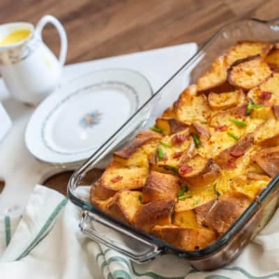 Gluten-Free Eggs Benedict Casserole with Smoky Hollandaise Sauce