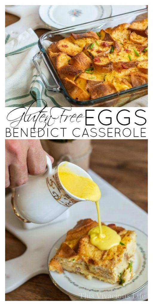 Gluten-free eggs benedict casserole with smoky hollandaise sauce! This overnight breakfast casserole is so fluffy and delicious as well as rich in flavor. Everyone will love it whether gluten-free or not. The Canyon Bakehouse gluten-free English muffins really make this dish special. AD || This Vivacious Life #glutenfree #recipe #eggsbenedict #casserole #breakfast #breakfastrecipe #glutenfreerecipes #thisvivaciouslife