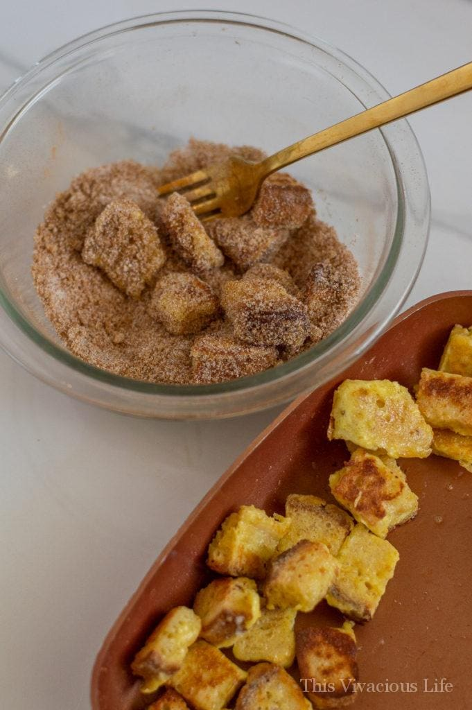French toast bites in cinnamon sugar and some in a frying pan